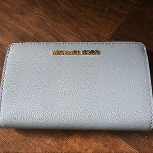 NWT Michael Kors light blue wallet